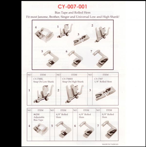 Bias Tape & Rolled Hem Presser Foot Kit