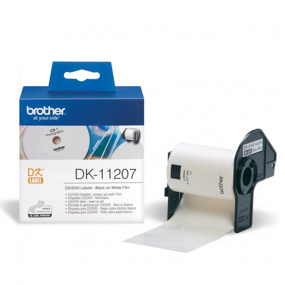 Brother DK11207 CD Labels/DVD Vinyl (58mm in diameter)