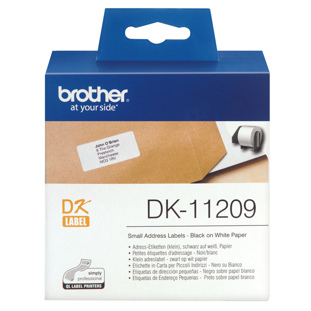address stickers brother dk11209 black on white labels 29x90mm