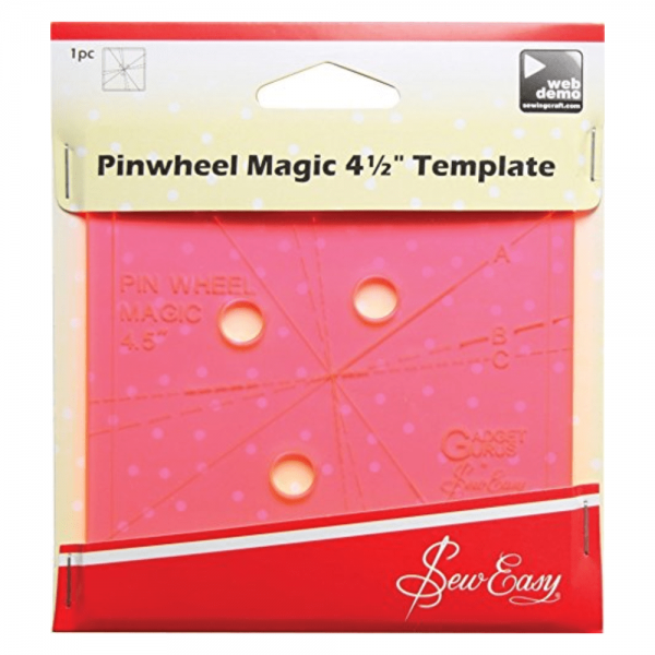 "Pinwheel Template for Pinwheel Quilt Block Patterns - Sew Easy Pinwheel Magic 4.5"" Template"