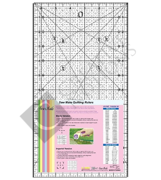 Sew Mate Quilting Ruler (Metric & Imperial)