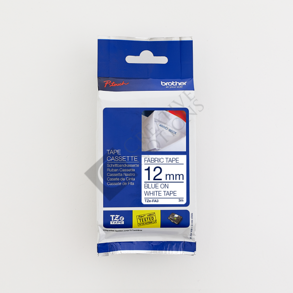 Iron On Fabric Tape TZe for Brother P Touch Label Printer - Blue on White