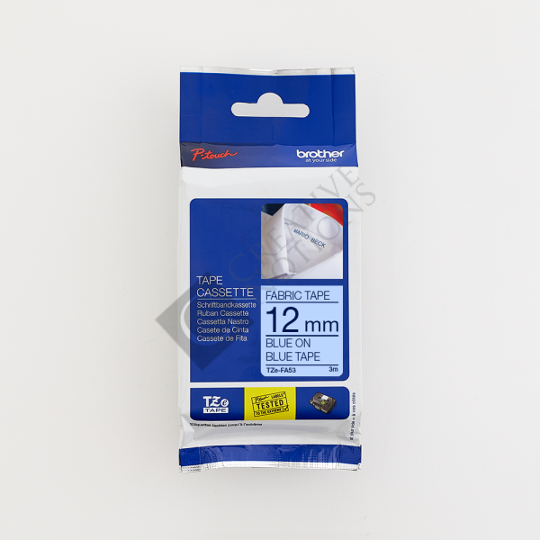 Iron On Fabric Tape TZe for Brother P Touch Label Printer - Blue on Blue