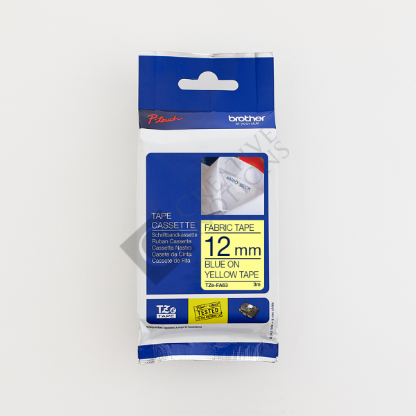 Iron On Fabric Tape TZe for Brother P Touch Label Printer - Blue on Yellow