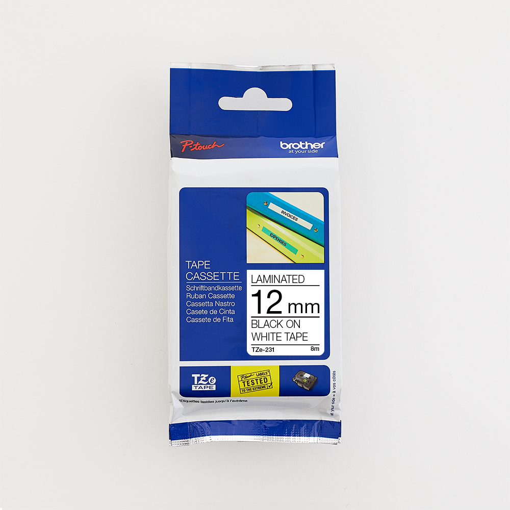 Brother TZe231 Black on White Laminated Tape 12mm